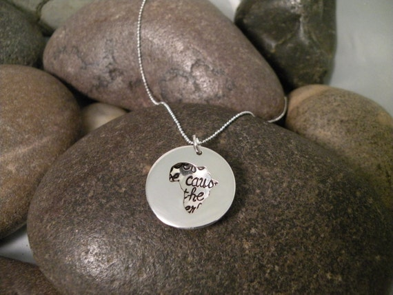 Custom Hand Stamped Sterling Silver AFRICA Locket Necklace Perfect for Adopting Mothers
