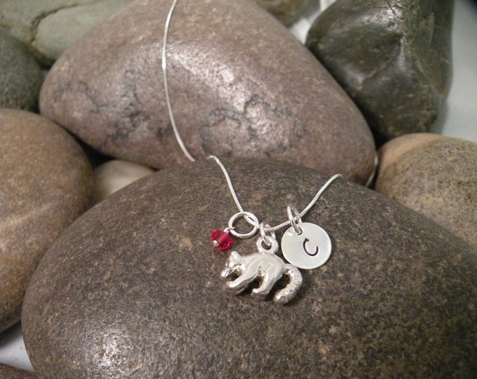 Sterling Silver Mini Initial Hand Stamped Raccoon Charm Necklace