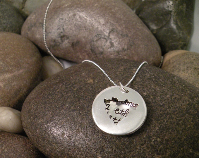 Custom Hand Stamped Sterling Silver NICARAGUA Locket Necklace Perfect for Adopting Mothers