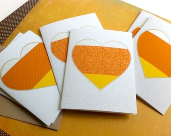 Halloween Note Cards       Candy Corn Love     Set of 6 notecards