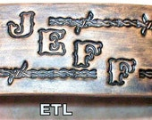 Personlize your Custom Leather Cuff with Name and barbed wire stamping