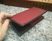 All Leather Professional waitstaff booklet RED upholstery leather with black side pockets and black laced edge