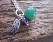 Sterling silver necklace with amethyst and emerald bead and karen silver leaf