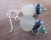 Sterling silver earrings with jade flower, Delft Blue ceramic & emarald bead