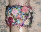 One of a Kind Wearable Fiber Art Bead Embroidered Stitched Cuff Bracelet