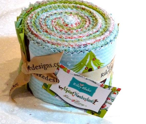 SALE  Alpine Wonderland Rolie Polie Riley Blake Christmas Fabric Strips Jelly Roll