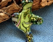 Fused Glass Big pendant green OOAK