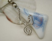 Fused Glass Tender Floral Pendant White Blue Delicate  OOAK