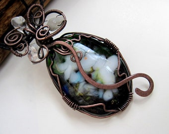 Fused Glass  Pendant Rustic  Copper Wire   OOAK