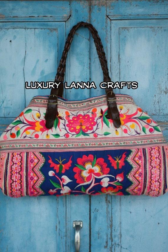 Luxury Lanna Hmong tote bag ethnic flowers bird chic HB2012-94