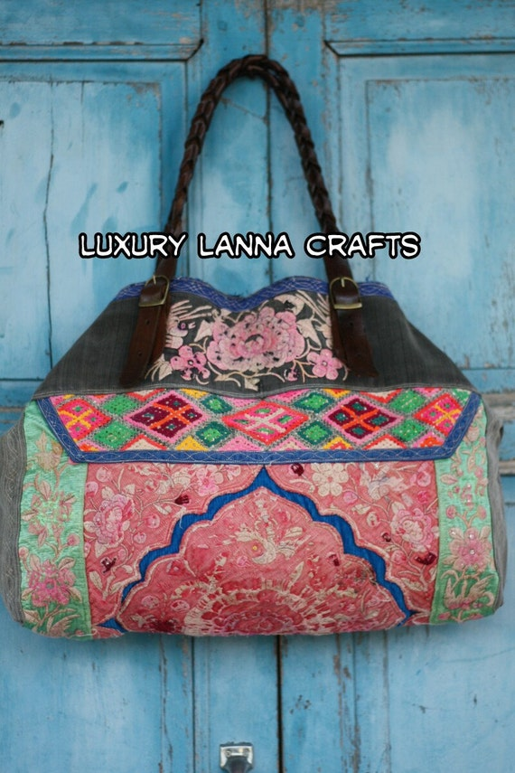 Luxury Lanna Hmong tote bag vintage ethnic flowers bird chic HB2012-97