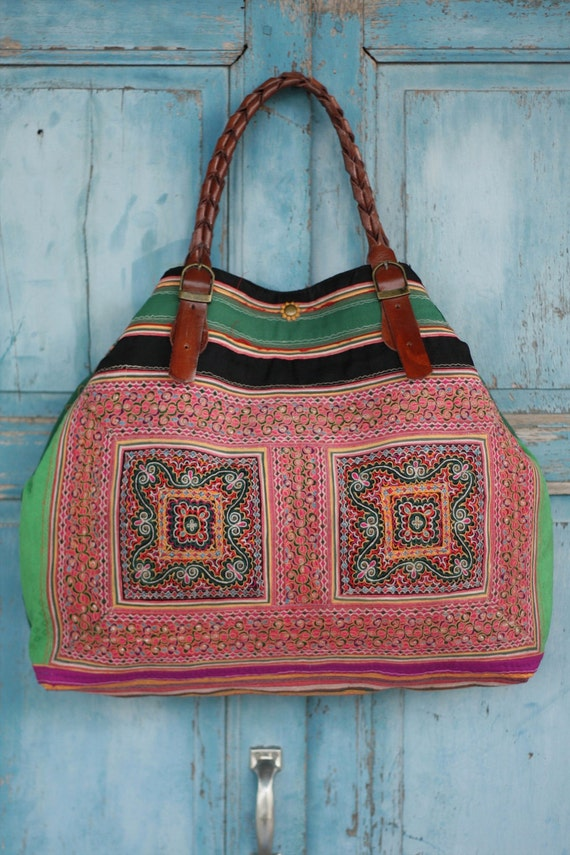 Luxury Lanna Hmong tote bag vintage deluxe green collectors bag HB2012-213