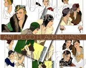 Vintage Art Deco Fashion Flapper Hats Digital Collage Sheet One