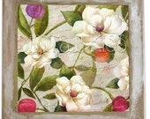 Tumbled Porcelain Original Art Tile with Hand-Painted Shabby Frame-White Magnolias