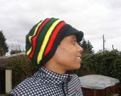 Rasta slouchy hat with brim, one size fits most