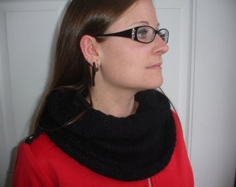 Neck warmer/Cowl, black wool, one size fits most
