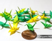 1 inch solid color cranes (25 pieces in 5 colors, shades of green-yellow)