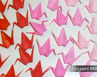3 inches solid color cranes (50 pieces in 5 colors, shades of red-pink)