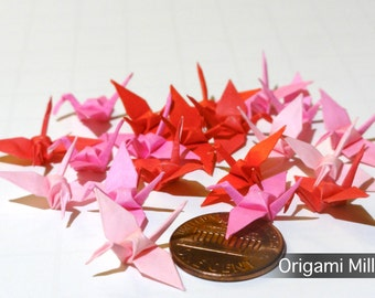 1 inch solid color cranes (25 pieces in 5 colors, shades of red-pink)