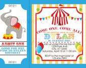 Personalized Carnival Circus Birthday Party Invitation Printable Digital File