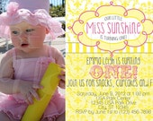 Little Miss Sunshine Printable Photo Birthday Party Invitation Digital File