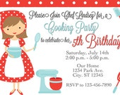 Cooking Chef Birthday Party Invitation Printable Digital File