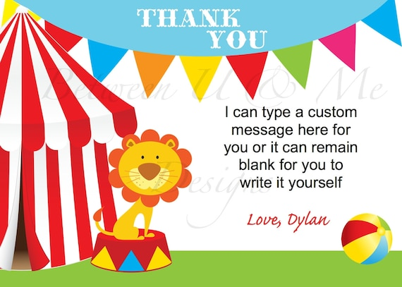 Personalized Carnival Circus Thank you Birthday Party Printable Digital File