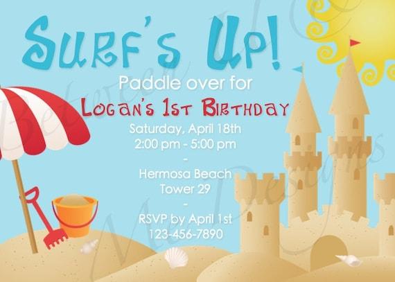 Personalized Beach Birthday Party Invitation Printable Digital File