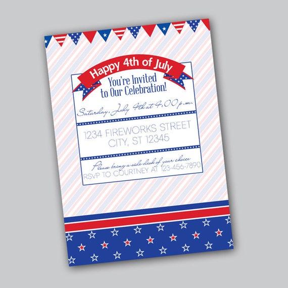 4th of July BBQ Invitation Printable Digital File