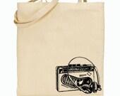 Eco Friendly Canvas Tote Bag - Reusable Grocery Bags - Unique Images - Vintage Cassette Player