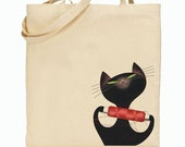 Eco Friendly Canvas Tote Bag - Reusable Grocery Bags - Gift Bag - Kitty with String - Sewing Cat