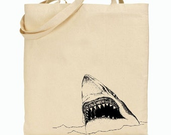 Eco Friendly Canvas Tote Bag - Reusable Grocery Bags - Unique Images - Shark