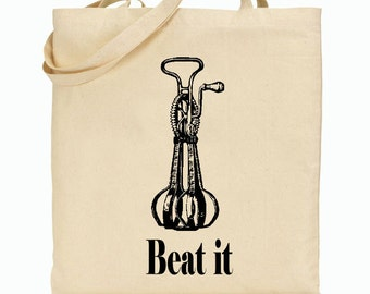 Eco Friendly Canvas Tote Bag - Reusable Grocery Bags - Beat It - Vintage Blender