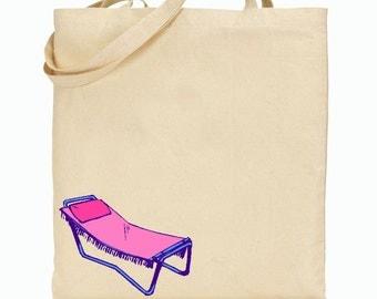 Pink Lawn Chair - Summer Tote Beach Bag
