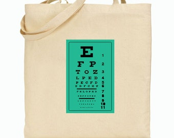 Eco Friendly Canvas Tote Bag -Grocery ToteBag  - Eye Chart