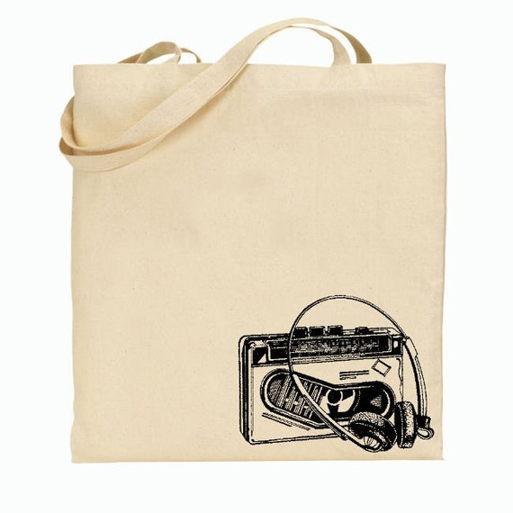 Eco Friendly Canvas Tote Bag - Reusable Grocery Bags - Unique Images - Vintage Cassette Player