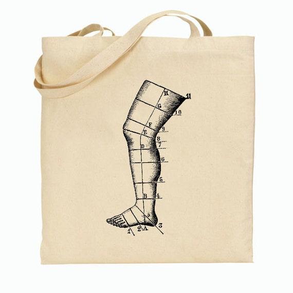 Eco Friendly Canvas Tote Bag - Medical Tote - Antique Medical Leg