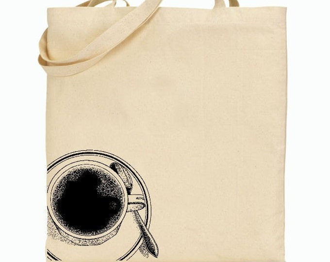 Eco Friendly Canvas Tote Bag - Reusable Grocery Bags - Coffee Cup