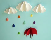 Red Umbrella -- 3D Wall Art