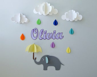 Custom Name Wall Art-Elephant, Raindrops, and Clouds, Wall Decor/Wall Decal/Nursery Wall Art