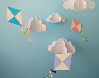 Set of Hanging 3D Kites and Clouds (separates), Nursery Decor/Party Decor/Photo Prop