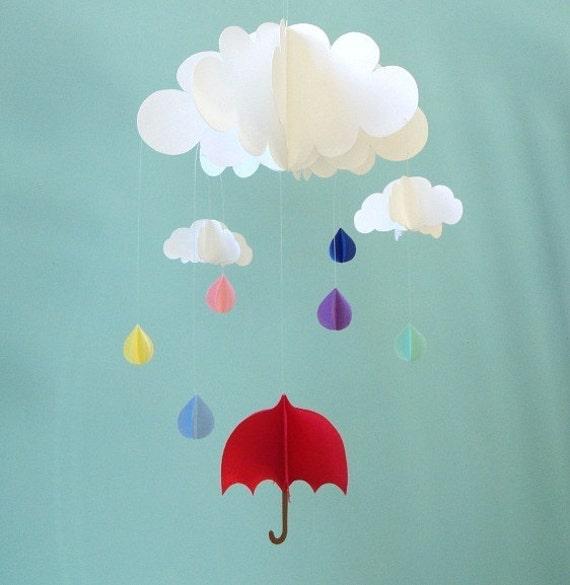 Rain Baby Mobile, Umbrella Baby Mobile, Raindrops Hanging Baby Mobile, 3D Paper Mobile, Nursery Mobile