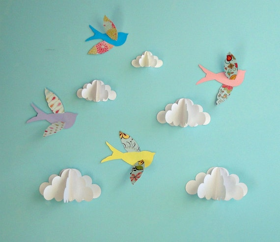Birds and Clouds - 3D Paper Wall Art/ Wall Decor/Wall Decals