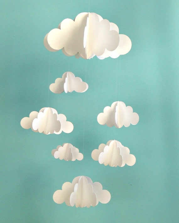 SALE!!!!!!!! Cloud Baby Mobile, Hanging Baby Mobile, 3D Paper Mobile, Nursery Mobile, Baby mobile, Nursery Crib Mobile