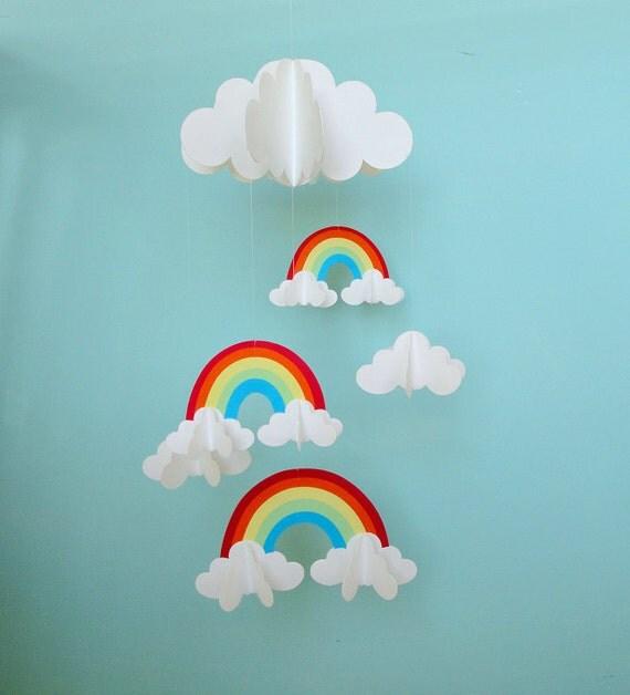 Arco iris y nubes 3d colgante beb papel m vil 3d m vil vivero for How to make a paper cloud