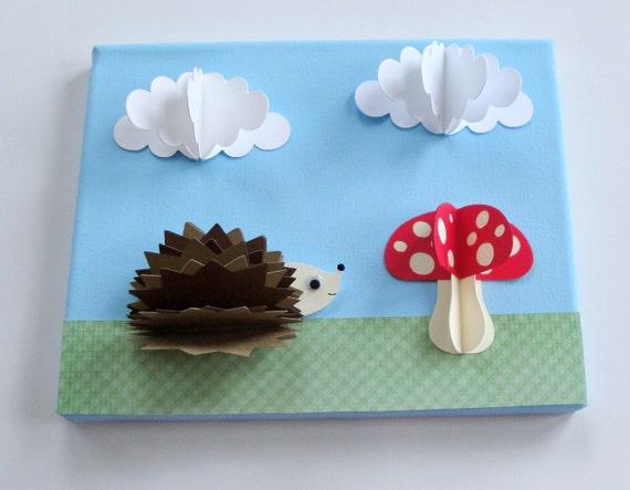 Original Hedgehog and mushroom 3D Paper Wall Art on 8 x 10 Canvas (Not a print)--Nursery art, Nursery decor, Woodland, Kids Art, Kids Decor