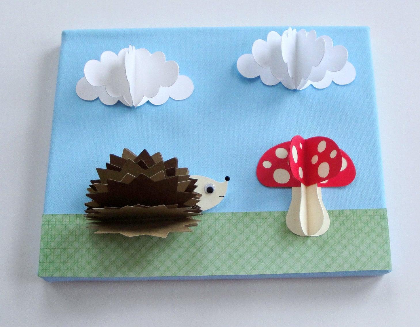 Original hedgehog and mushroom 3d paper wall art on 8 x 10 for 3d art projects