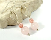 Rose quartz silver earrings cherry quartz  925 silver  handmade jewely