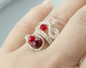 Red burgundy ring silver plated wire wrapped adjustable jewelry