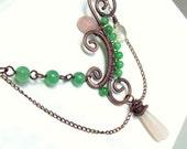 Copper asimetrical statement necklace with rose quartz and aventurine gemstones handmade wire wrapped jewelry Awakening Nature